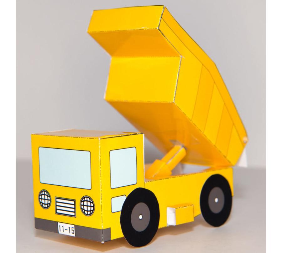 【簡単】ダンプカーの展開図(カラー)